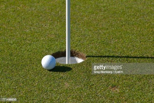close-up of ball on golf course - tee sports equipment stock photos and pictures