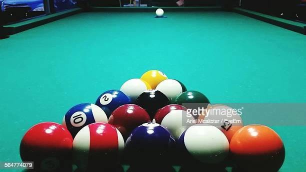 Close-Up Of Balls Arranged On Pool Table