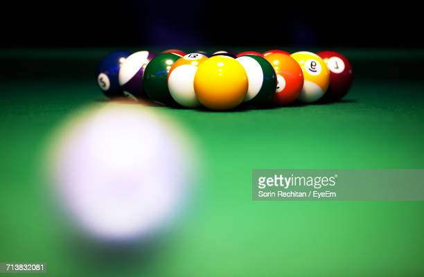Close-Up Of Balls Arranged Pool Table