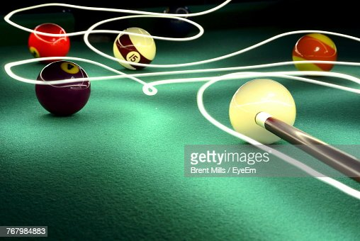 Closeup Of Balls On Pool Table With Light Painting Stock Photo - Pool table painting