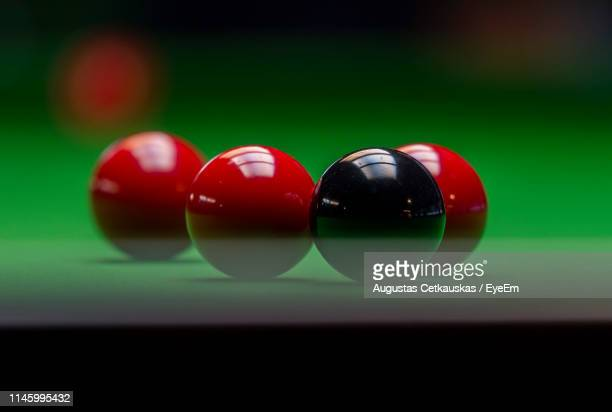 close-up of balls on table - snooker stock pictures, royalty-free photos & images