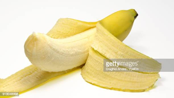 Close-Up Of Banana Against White Background