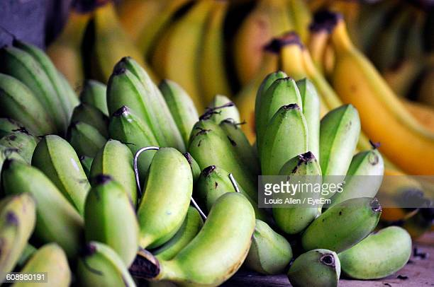Close-Up Of Bananas In Shop At Market For Sale