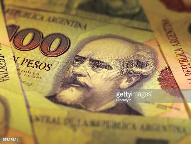 Close-up of bank notes of Argentina