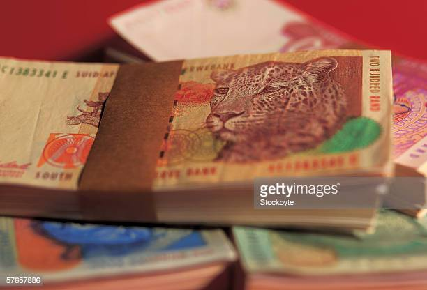 close-up of bank notes - south african currency stock photos and pictures