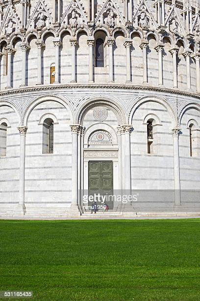 Close-up of Baptistery in Piazza dei Miracoli. Pisa. Italy.