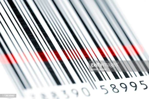 Close-up of bar code stripes with laser sensor light