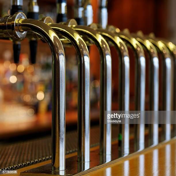 Close-up of bar taps