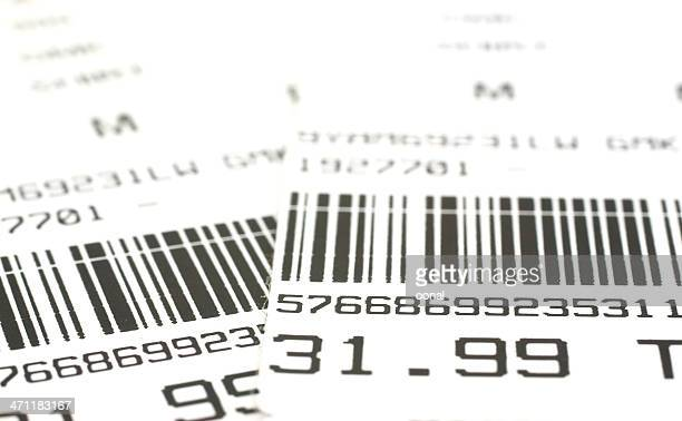 Close-up of barcode labels with price