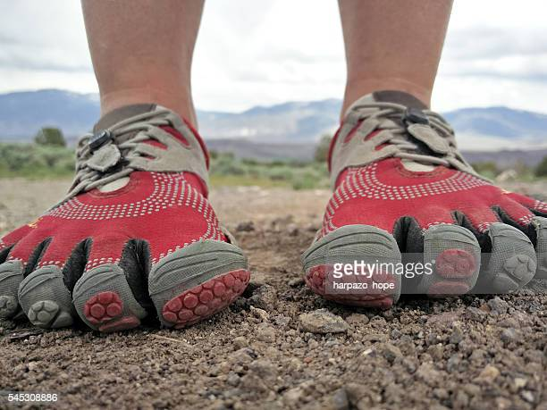 closeup of barefoot running shoes. - toe stock pictures, royalty-free photos & images