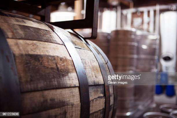 close-up of barrel at brewery - stahlfass stock-fotos und bilder