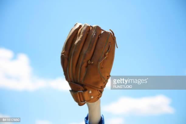 close-up of baseball glove - キャッチャーミット ストックフォトと画像