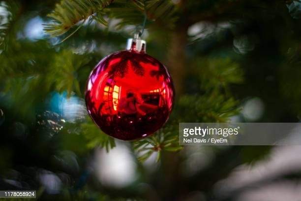close-up of bauble hanging on christmas tree - christmas bauble stock pictures, royalty-free photos & images