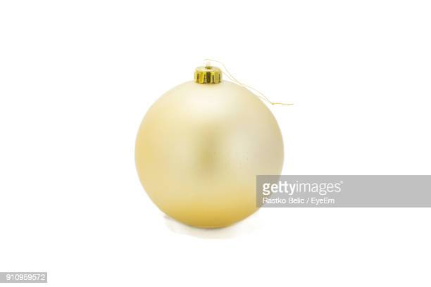 Close-Up Of Bauble Over White Background