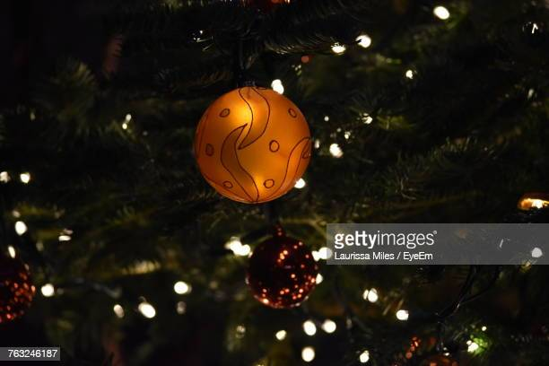 Close-Up Of Baubles On Christmas Tree