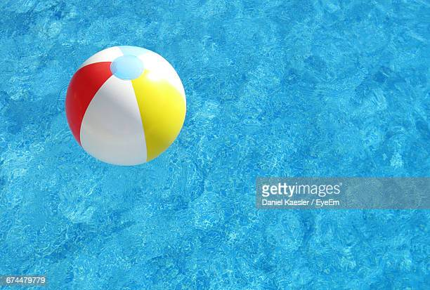 Close-Up Of Beach Ball Floating On Swimming Pool