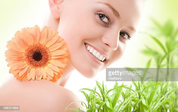 Close-up of beautiful face with flowers