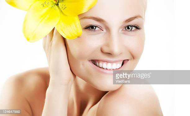 close-up of beautiful face with flowers - vladgans or gansovsky stock pictures, royalty-free photos & images