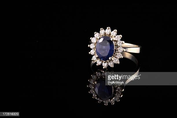 Close-up of beautiful sapphire diamond ring