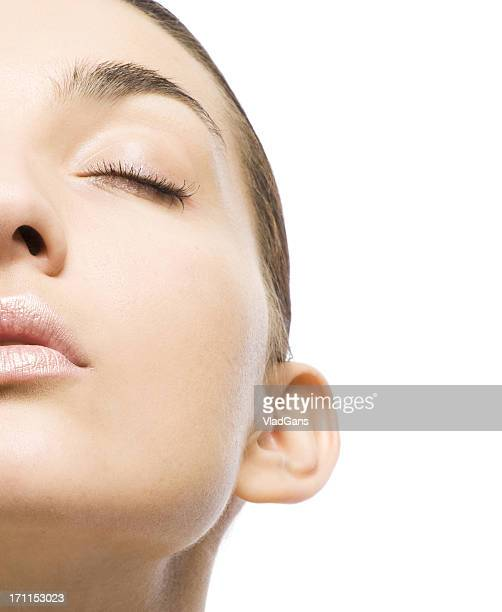 close-up of beautiful woman face - vladgans or gansovsky stock pictures, royalty-free photos & images