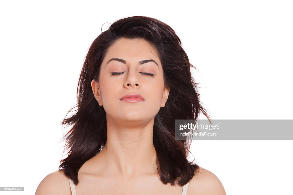 Close-up of beautiful woman with eyes closed : Stock Photo