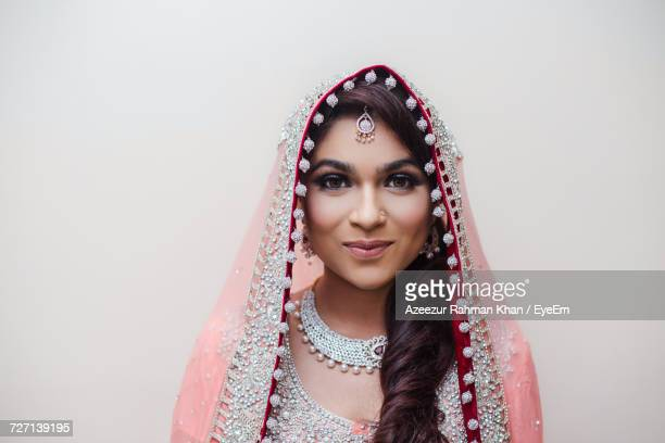 close-up of beautiful young indian bride - sari stock pictures, royalty-free photos & images