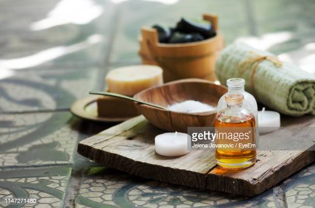 close-up of beauty treatment equipment on table - aromatherapy stock pictures, royalty-free photos & images