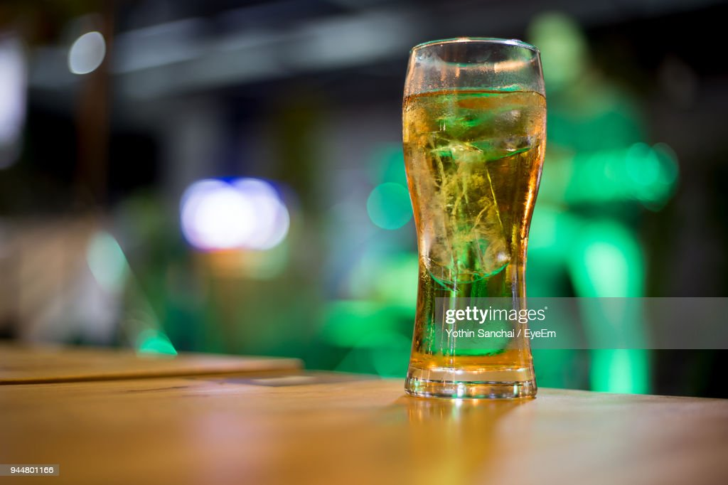 Close-Up Of Beer On Table : Stock Photo