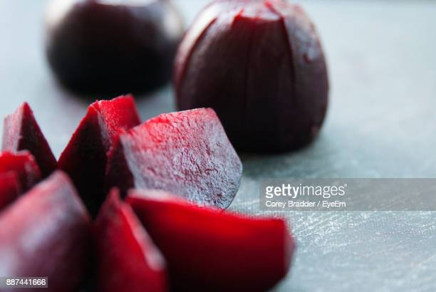 Close-Up Of Beet Slices On Table