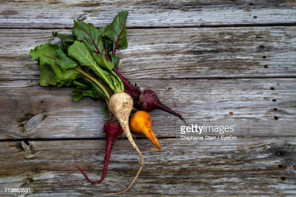 Close-Up Of Beets On Wood