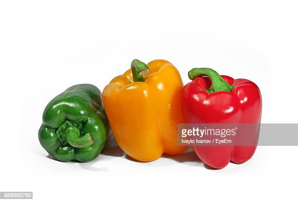 Close-Up Of Bell Peppers On White Background