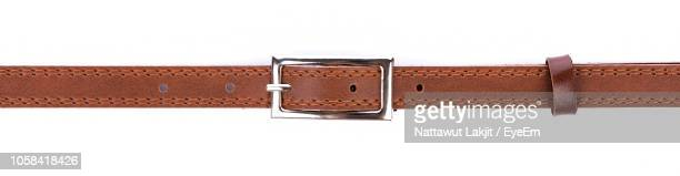 close-up of belt against white background - leather belt stock pictures, royalty-free photos & images