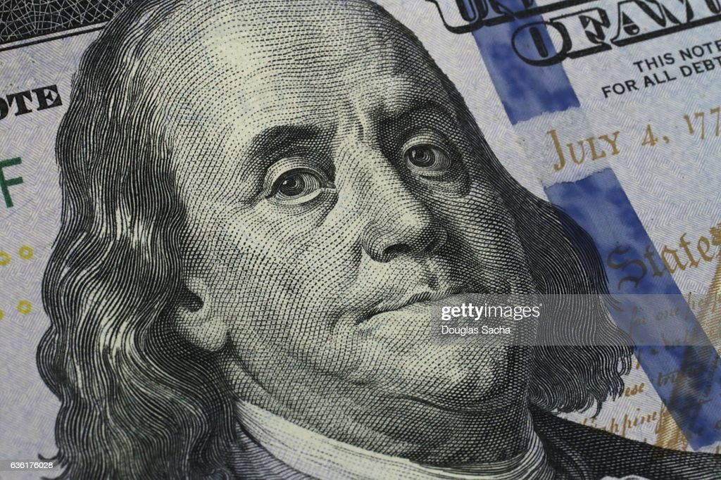 Closeup of Benjamin Franklin's portrait on the One Hundred Dollar Bill : Stock-Foto