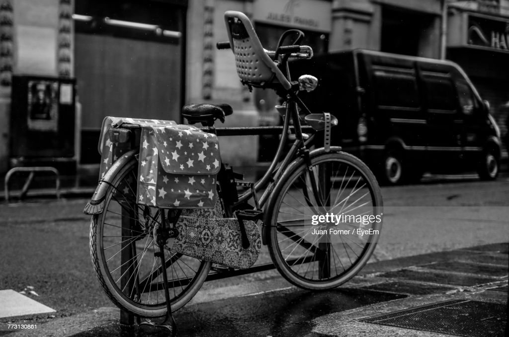 Close-Up Of Bicycle On Street : Photo