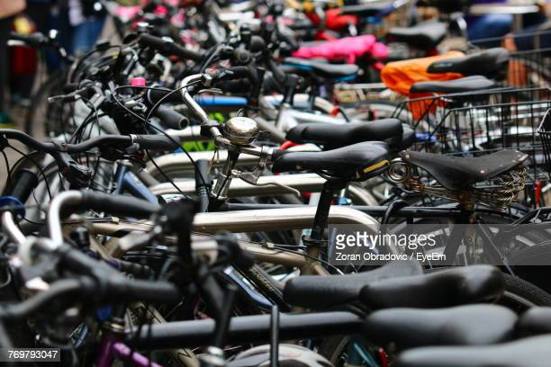 Close-Up Of Bicycles Parked Outdoors