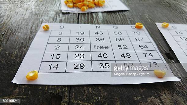 Close-Up Of Bingo Ticket On Table