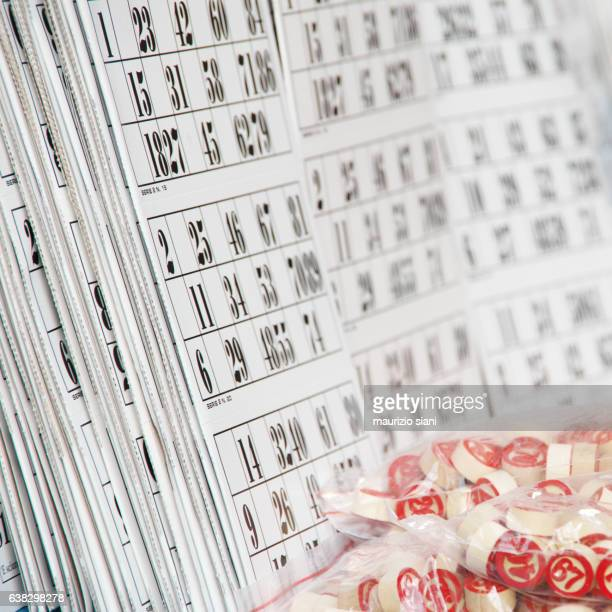 close-up of Bingo tickets and numbers for sale