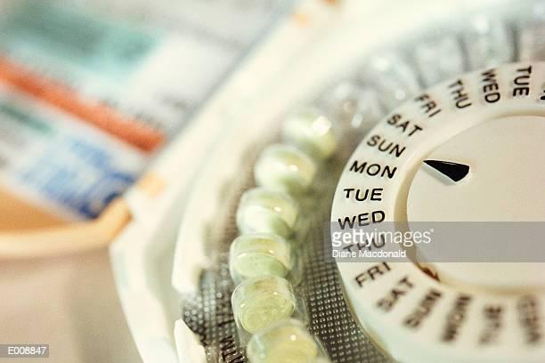 Close-up of birth control pills