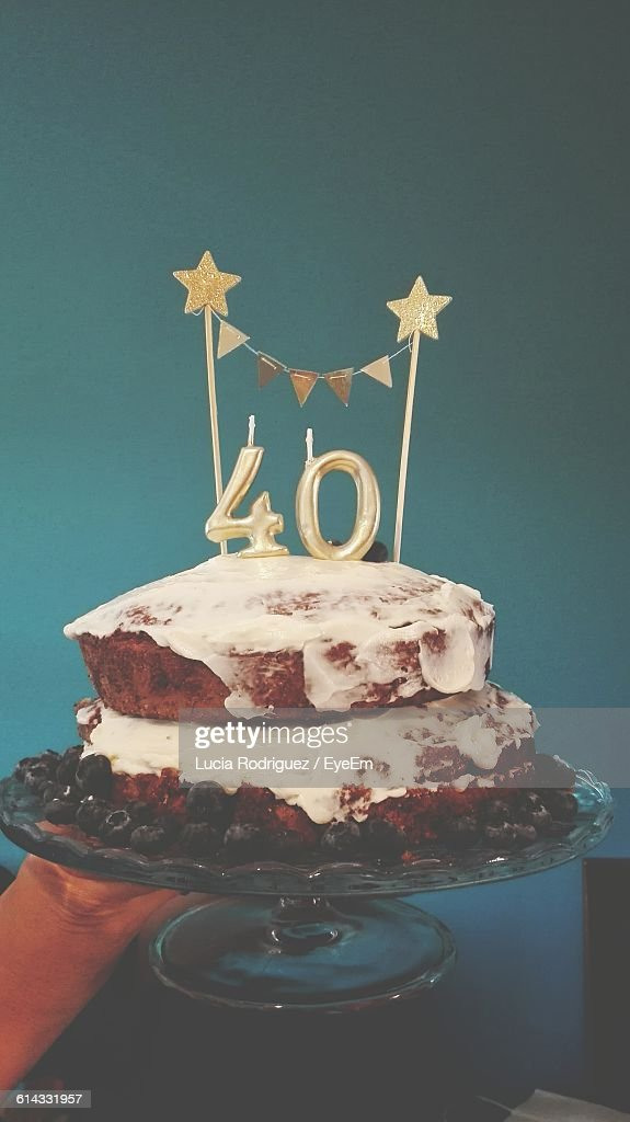 Close-Up Of Birthday Cake On Cakestand : Stock Photo