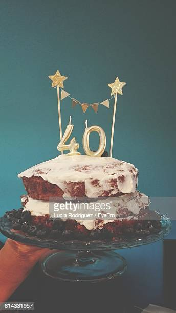 close-up of birthday cake on cakestand - number 40 stock photos and pictures