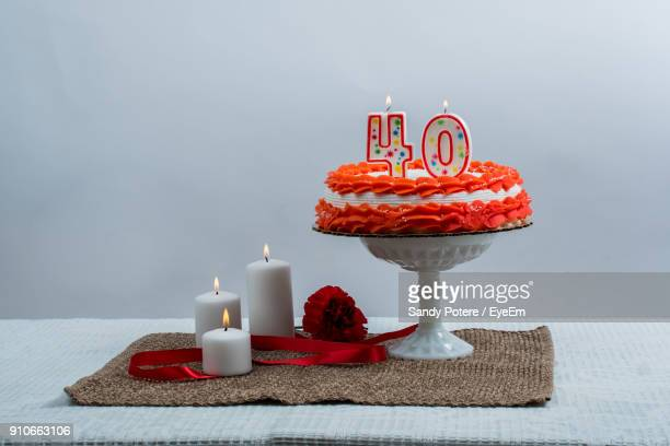close-up of birthday cake on table - number 40 stock photos and pictures