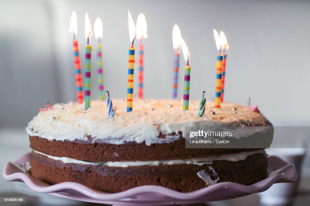 Close-Up Of Birthday Cake On Table : Stock Photo