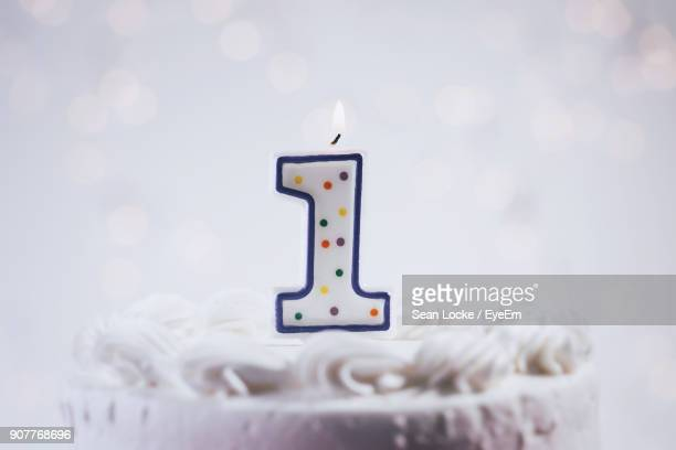 close-up of birthday cake - number 1 stock pictures, royalty-free photos & images
