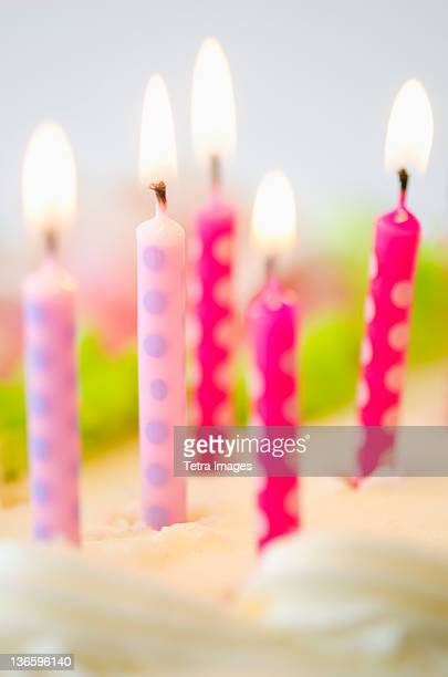 Close-up of birthday candles on cake