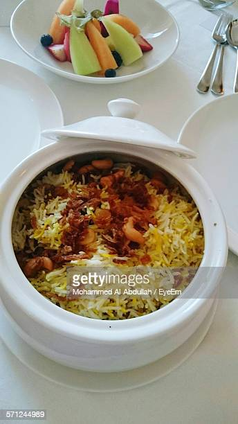Close-Up Of Biryani In Container On Table