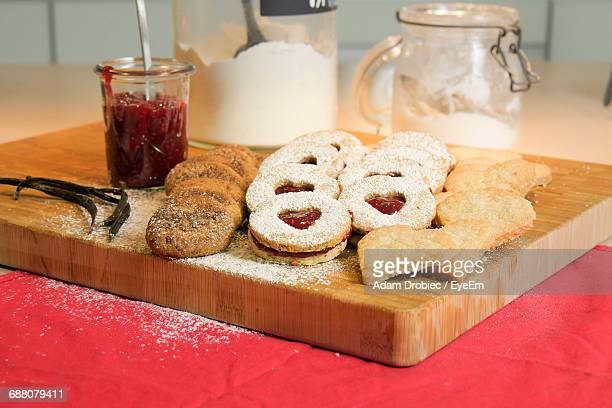 Close-Up Of Biscuits On Cutting Board
