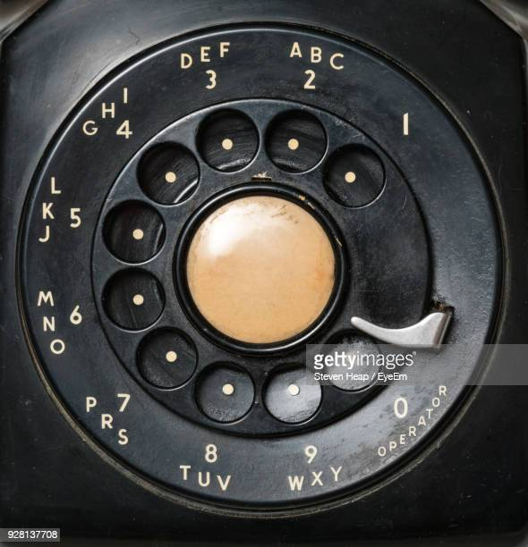 Close-Up Of Black Old Rotary Phone