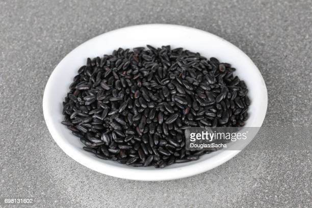 Close-up of Black Rice in a bowl (Oryza sativa)
