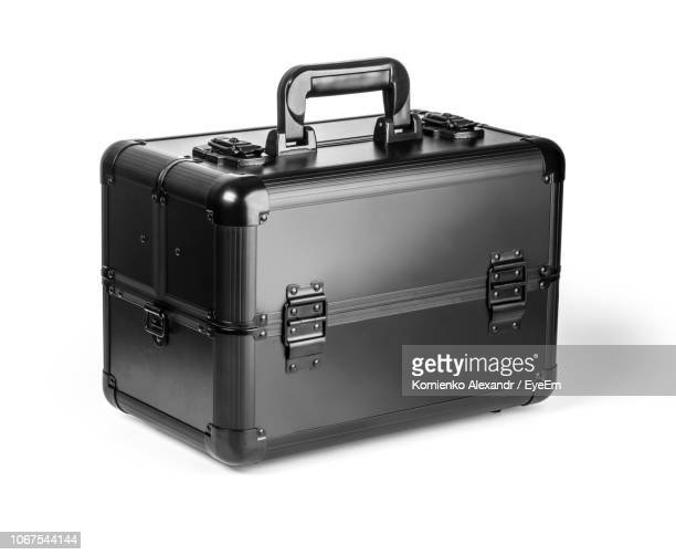 close-up of black toolbox against white background - toolbox stock pictures, royalty-free photos & images