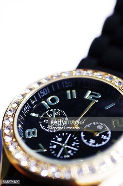 Close-up of Black Watch on White Background